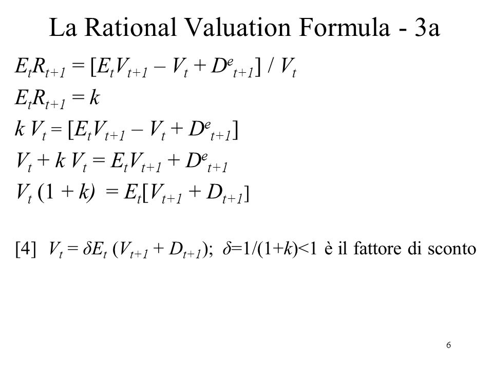 La Rational Valuation Formula - 3a