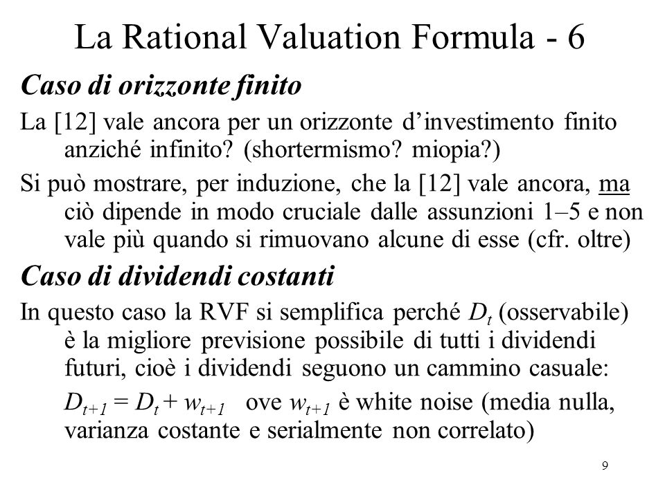 La Rational Valuation Formula - 6
