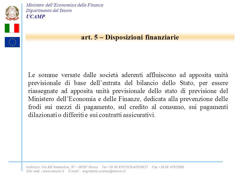 art. 5 – Disposizioni finanziarie