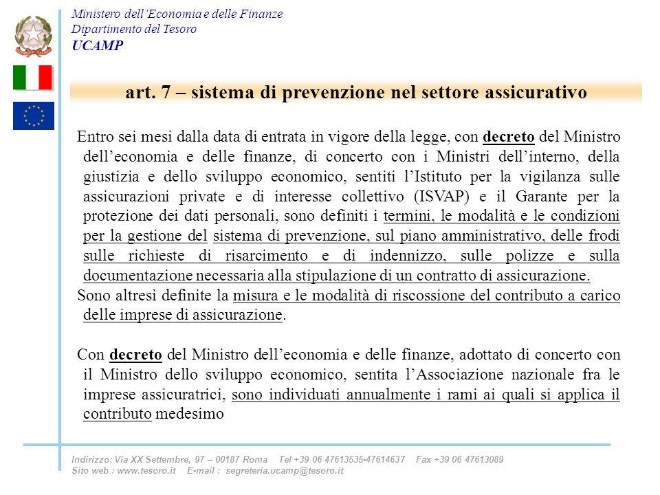 art. 7 – sistema di prevenzione nel settore assicurativo