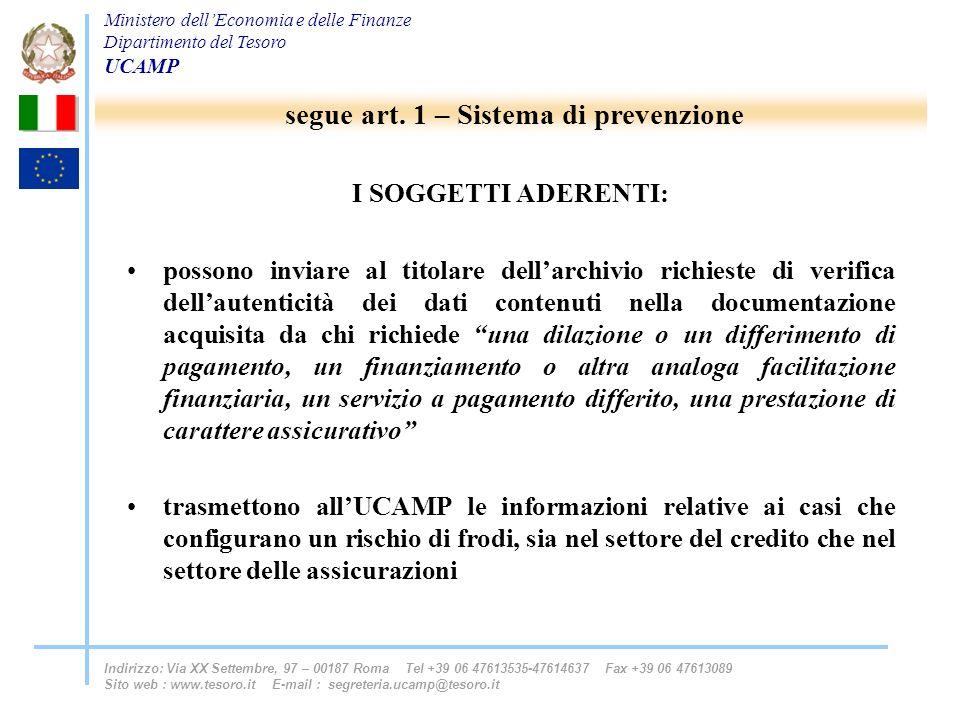 segue art. 1 – Sistema di prevenzione