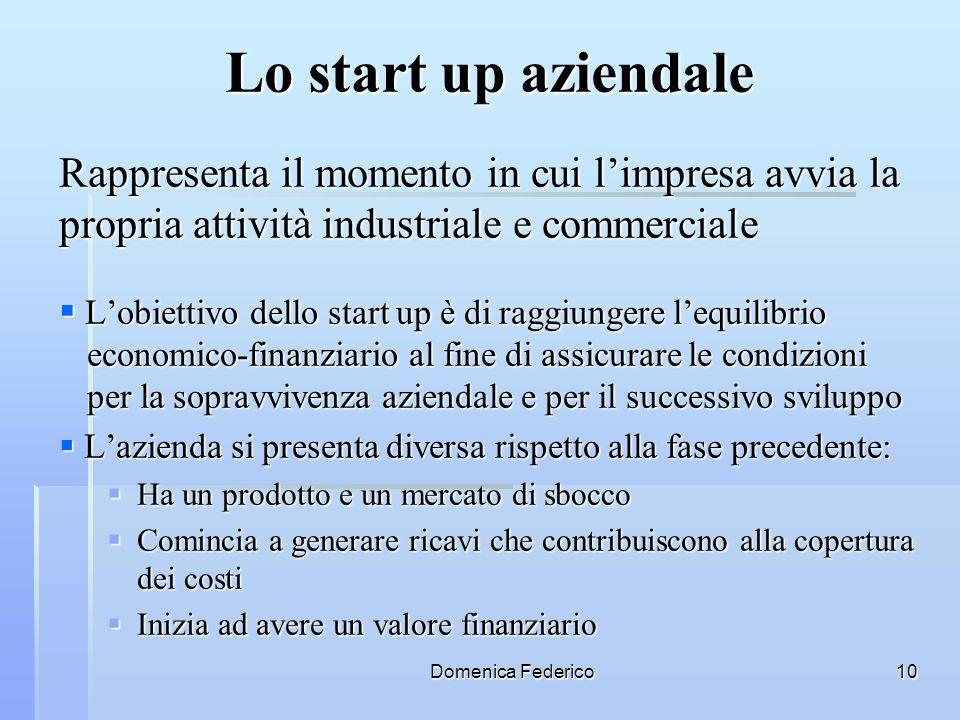 Lo start up aziendale Rappresenta il momento in cui l'impresa avvia la propria attività industriale e commerciale.