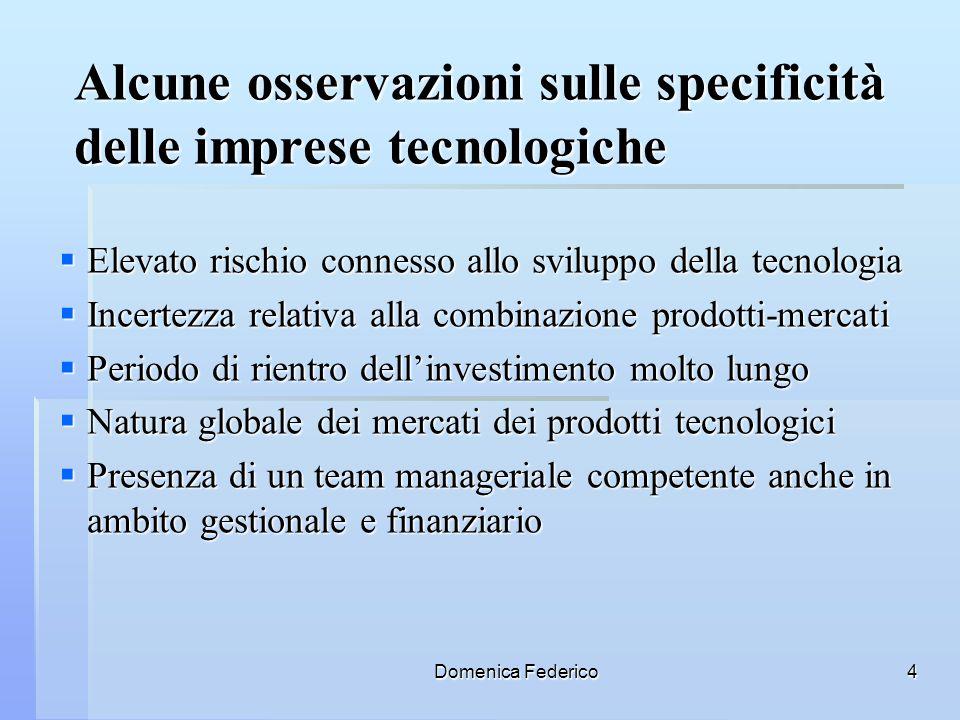 Alcune osservazioni sulle specificità delle imprese tecnologiche