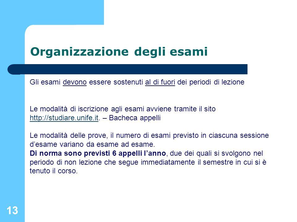 Organizzazione degli esami