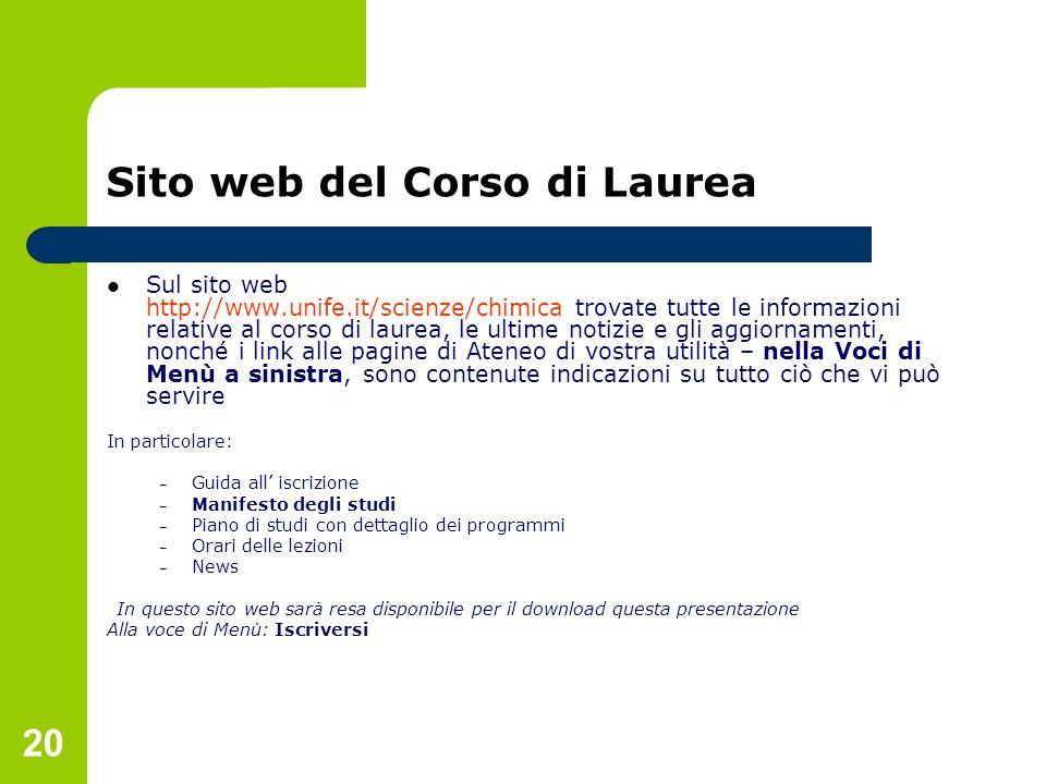Sito web del Corso di Laurea
