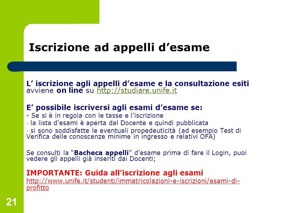 Iscrizione ad appelli d'esame