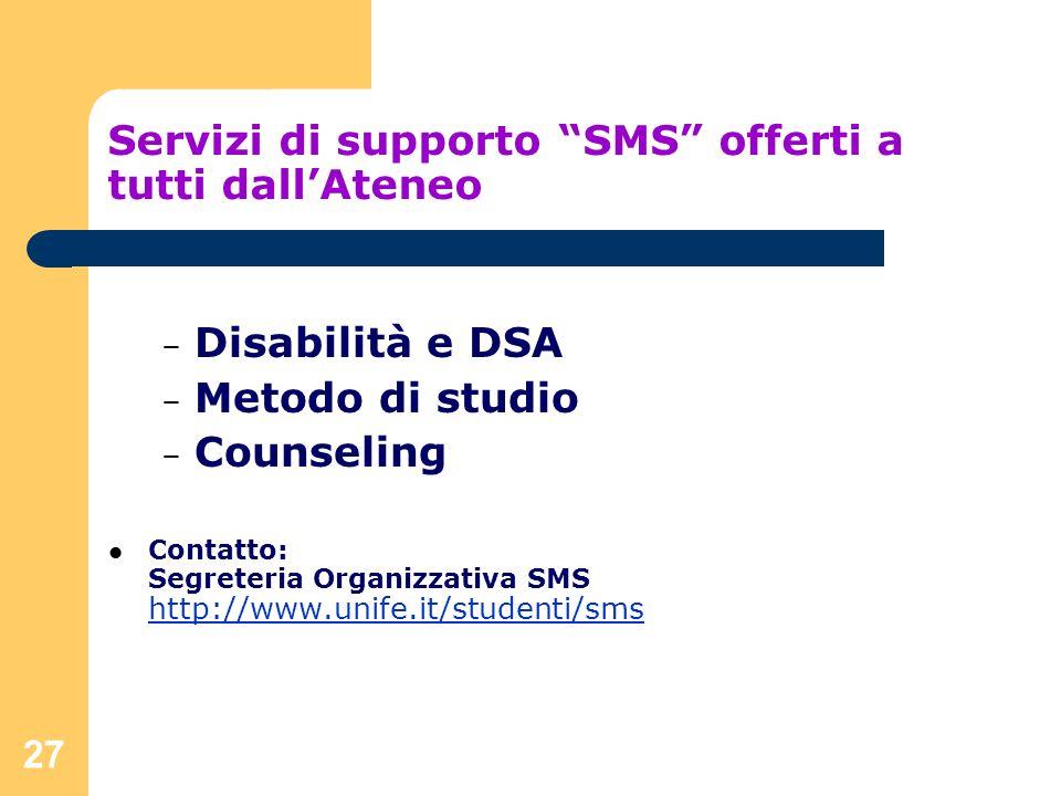 Servizi di supporto SMS offerti a tutti dall'Ateneo