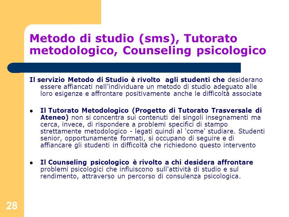 Metodo di studio (sms), Tutorato metodologico, Counseling psicologico