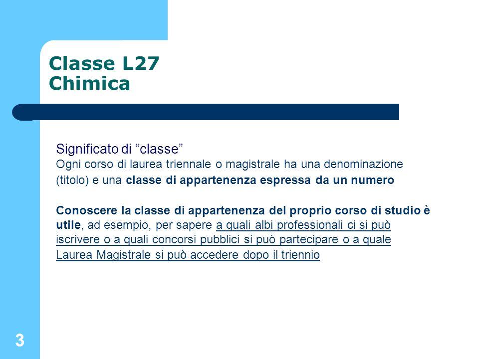 Classe L27 Chimica 3 Significato di classe