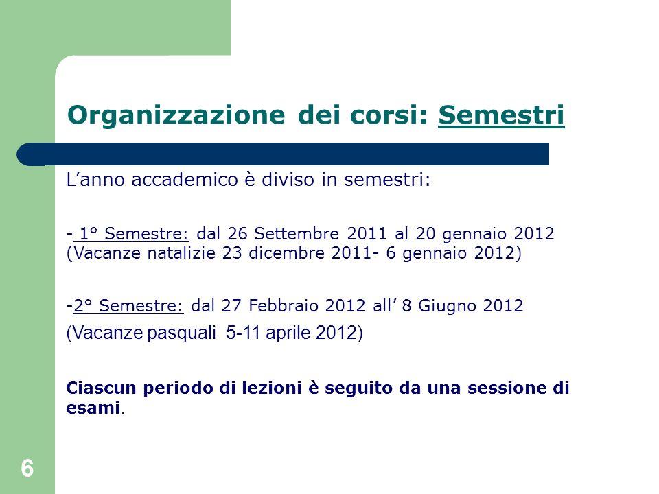 Organizzazione dei corsi: Semestri