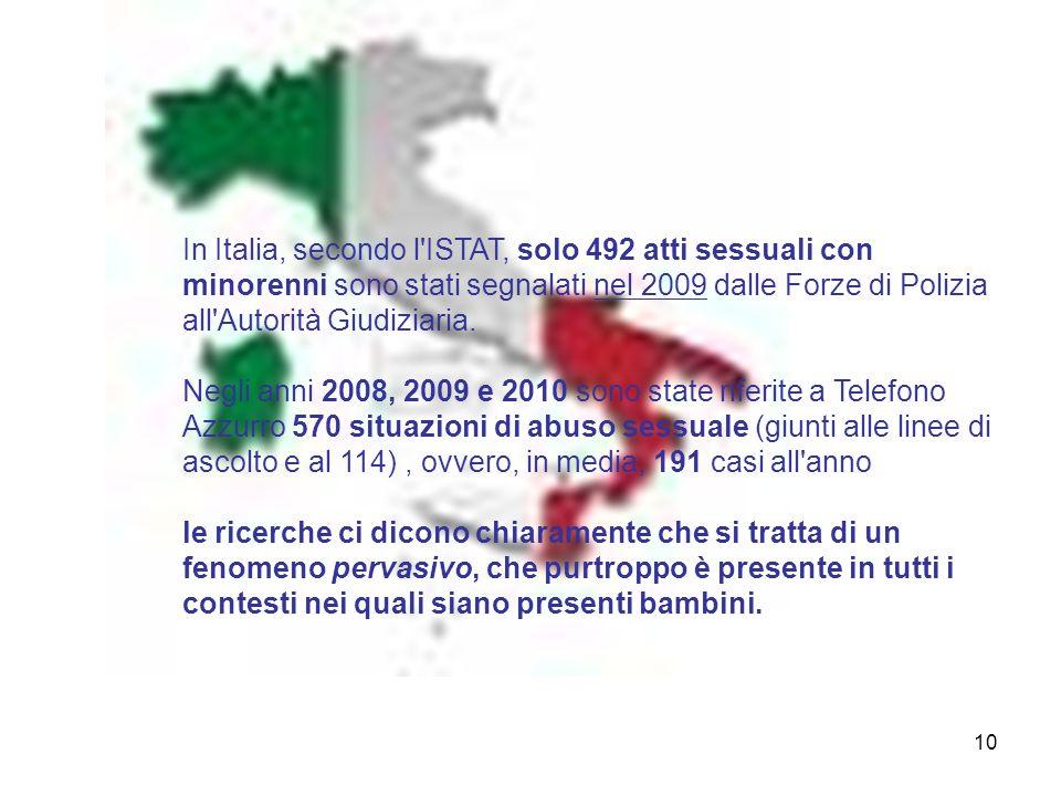 In Italia, secondo l ISTAT, solo 492 atti sessuali con minorenni sono stati segnalati nel 2009 dalle Forze di Polizia all Autorità Giudiziaria.
