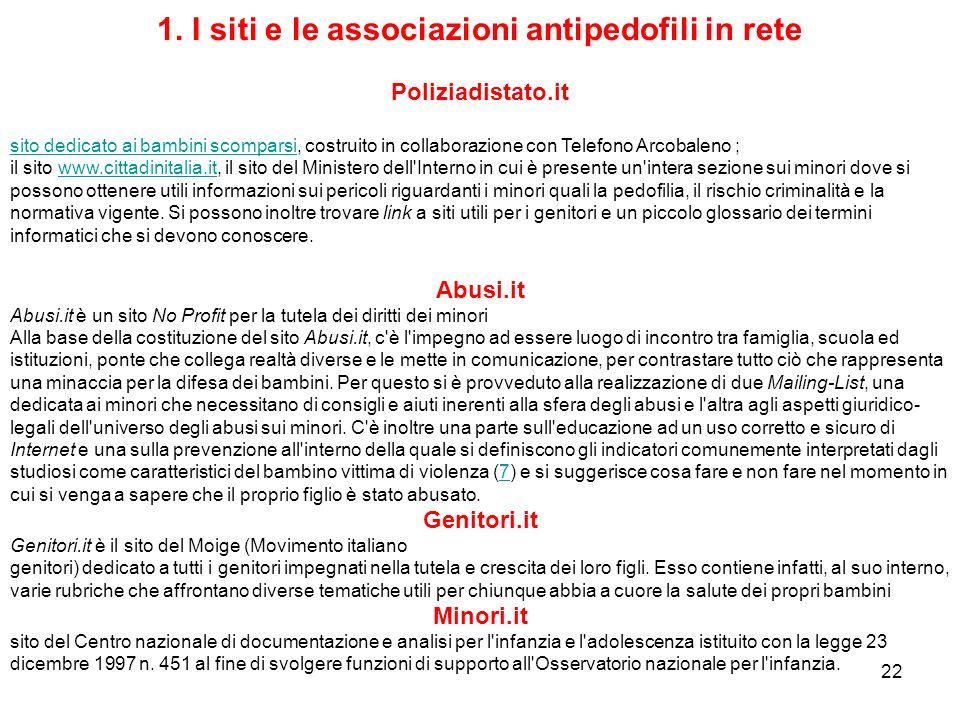1. I siti e le associazioni antipedofili in rete
