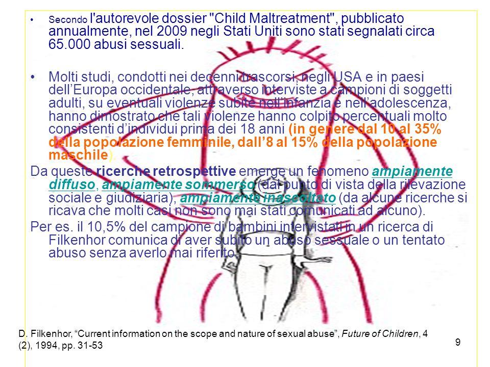 Secondo l autorevole dossier Child Maltreatment , pubblicato annualmente, nel 2009 negli Stati Uniti sono stati segnalati circa 65.000 abusi sessuali.