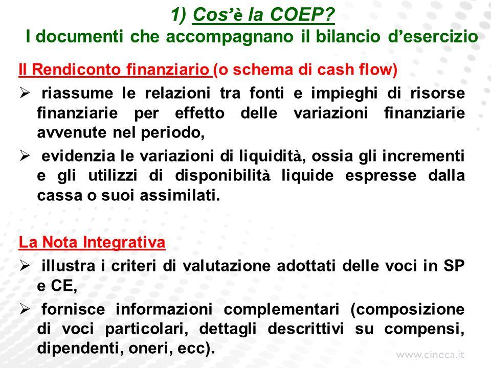 1) Cos'è la COEP I documenti che accompagnano il bilancio d'esercizio