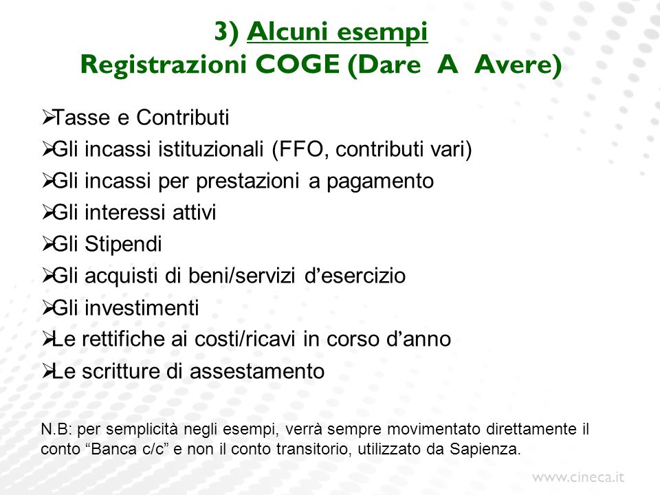 3) Alcuni esempi Registrazioni COGE (Dare A Avere)