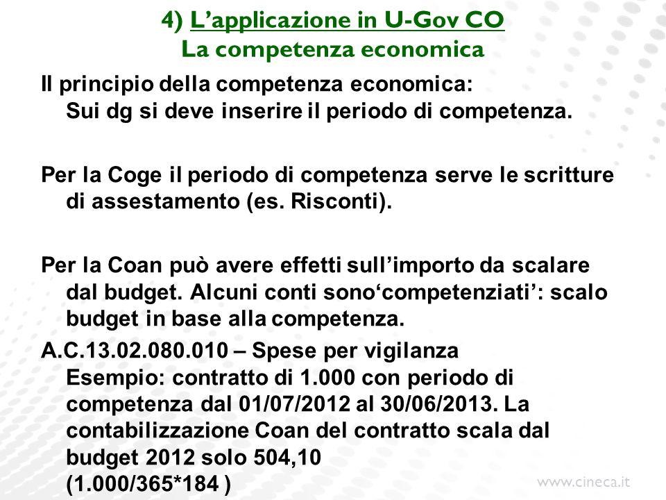 4) L'applicazione in U-Gov CO La competenza economica