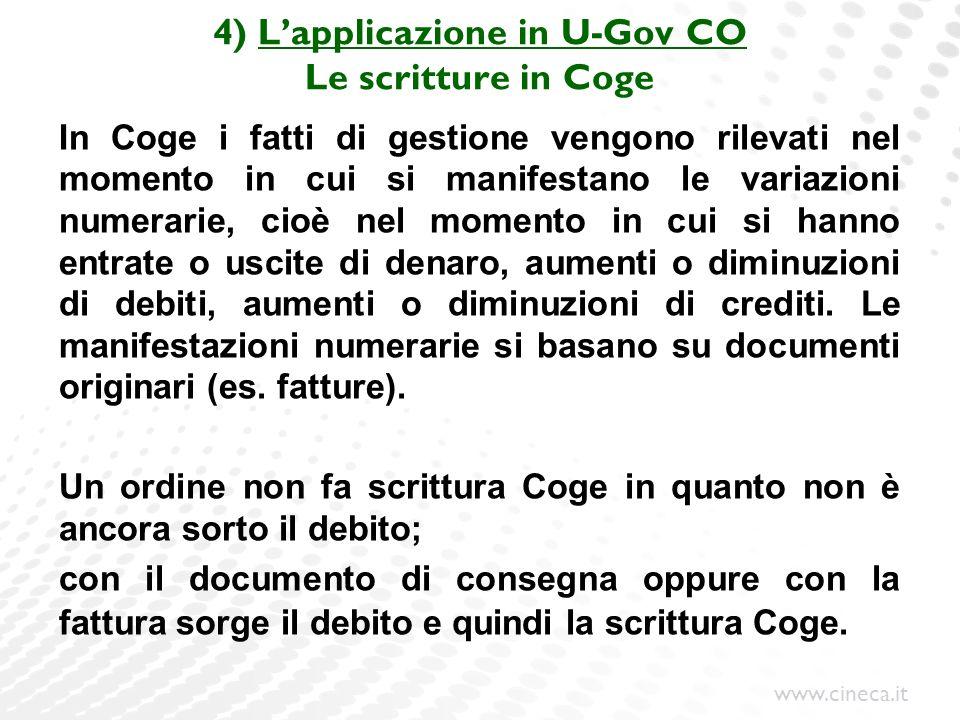 4) L'applicazione in U-Gov CO Le scritture in Coge