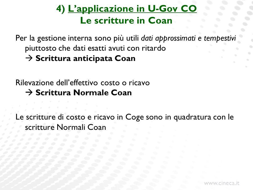 4) L'applicazione in U-Gov CO Le scritture in Coan
