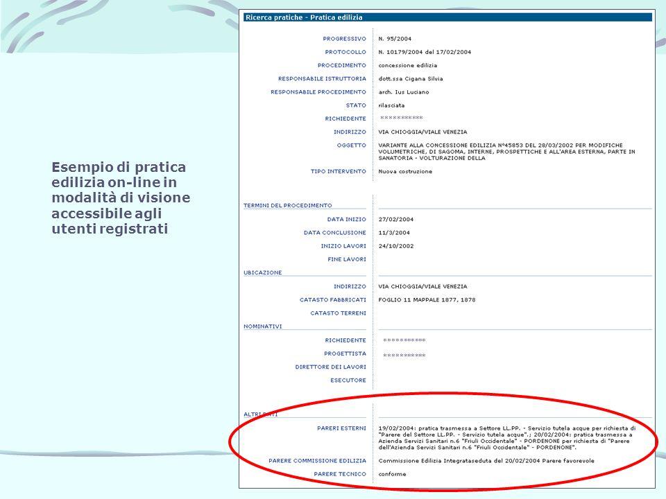 *********** Esempio di pratica edilizia on-line in modalità di visione accessibile agli utenti registrati.