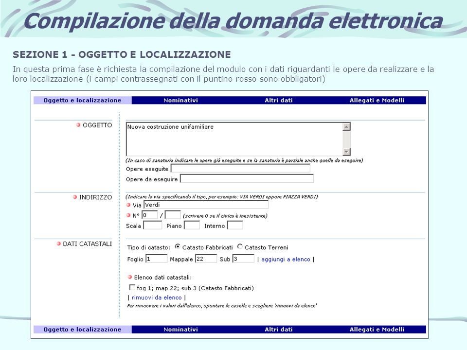 Compilazione della domanda elettronica