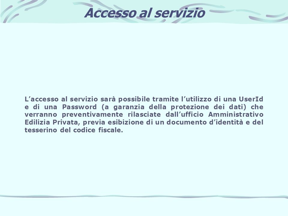 Accesso al servizio
