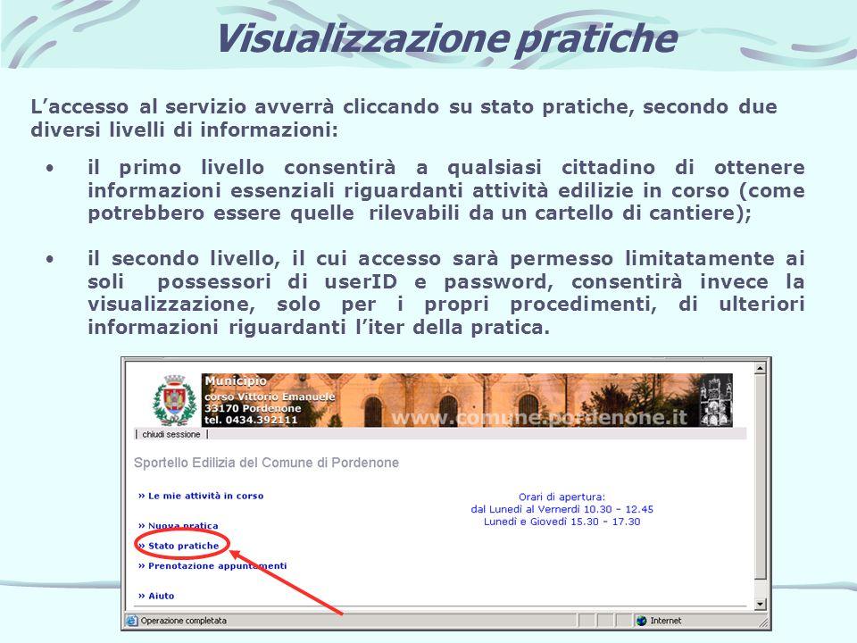 Visualizzazione pratiche