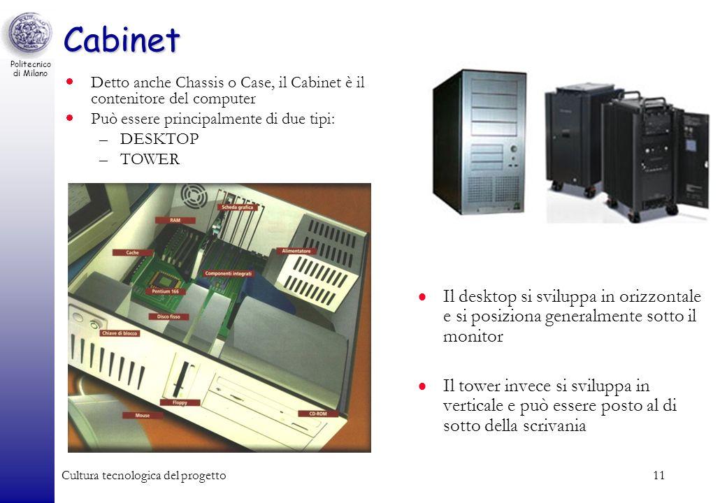Cabinet Detto anche Chassis o Case, il Cabinet è il contenitore del computer. Può essere principalmente di due tipi:
