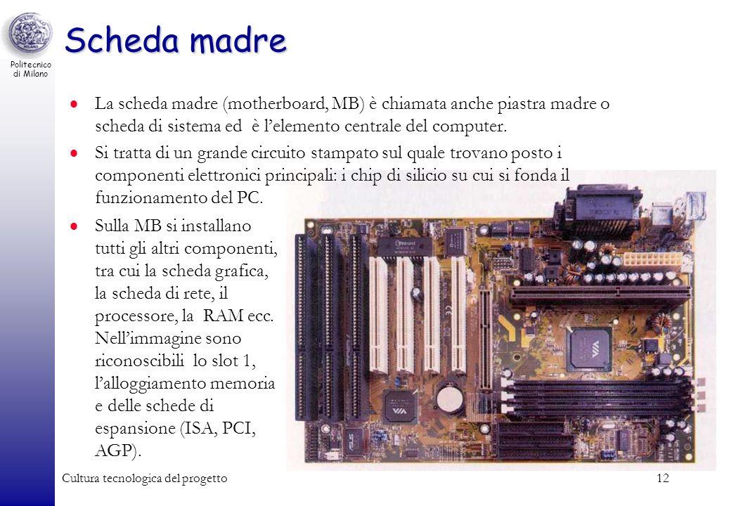 Scheda madre La scheda madre (motherboard, MB) è chiamata anche piastra madre o scheda di sistema ed è l'elemento centrale del computer.