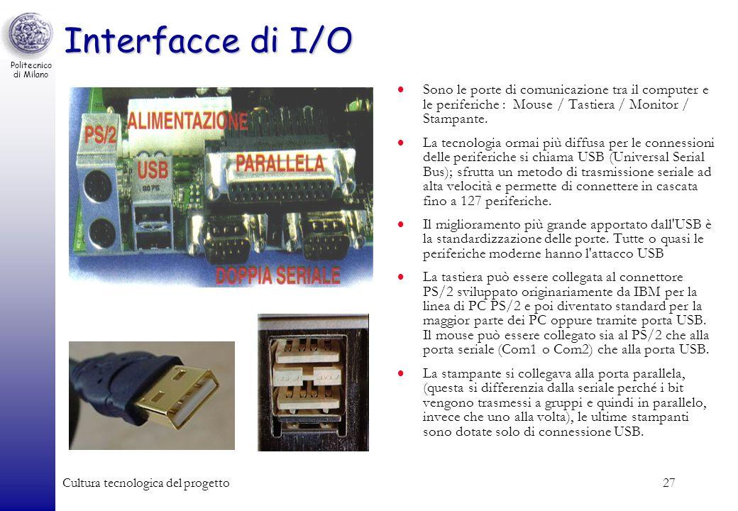 Interfacce di I/O Sono le porte di comunicazione tra il computer e le periferiche : Mouse / Tastiera / Monitor / Stampante.