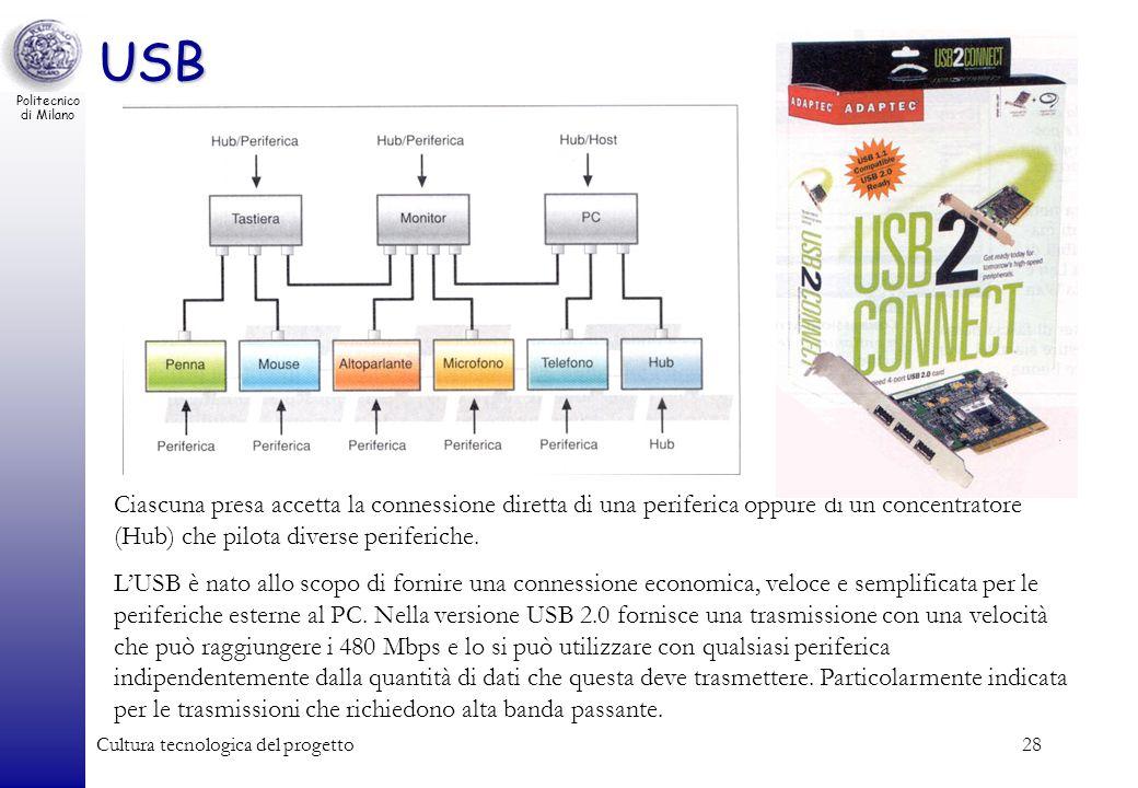 USB Ciascuna presa accetta la connessione diretta di una periferica oppure di un concentratore (Hub) che pilota diverse periferiche.