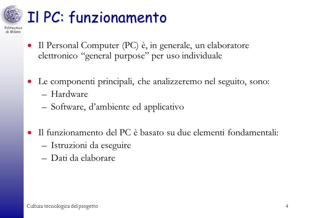 Il PC: funzionamento Il Personal Computer (PC) è, in generale, un elaboratore elettronico general purpose per uso individuale.