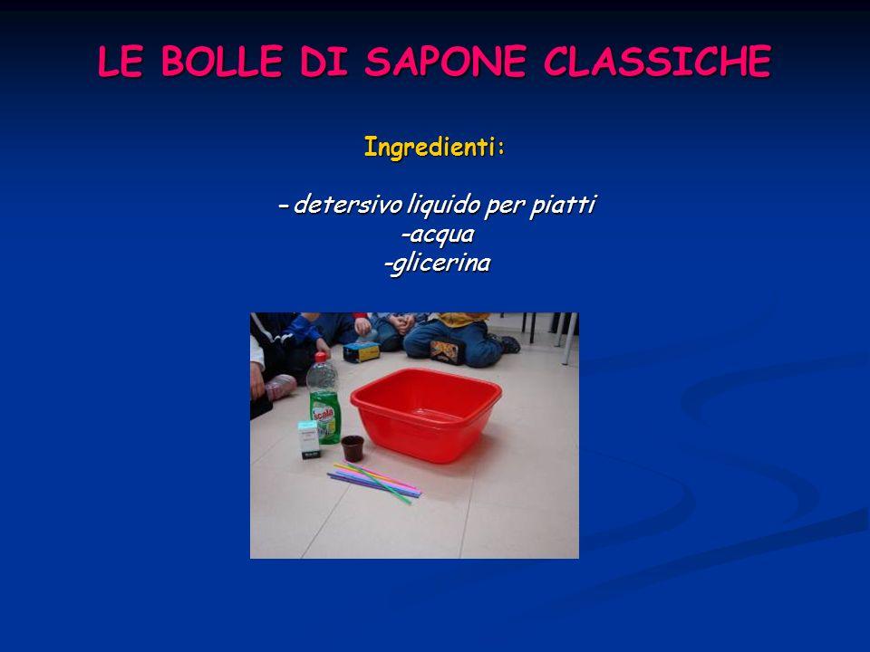 LE BOLLE DI SAPONE CLASSICHE Ingredienti: -detersivo liquido per piatti -acqua -glicerina
