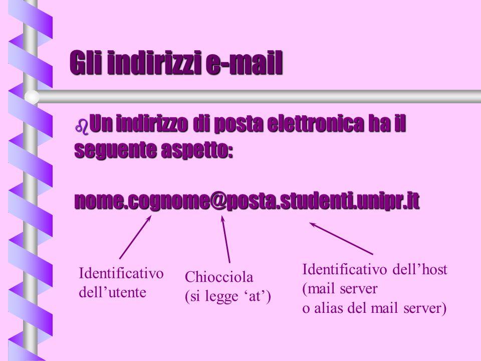 Gli indirizzi e-mail Un indirizzo di posta elettronica ha il seguente aspetto: nome.cognome@posta.studenti.unipr.it.