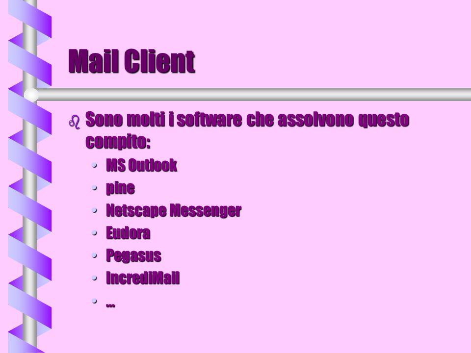 Mail Client Sono molti i software che assolvono questo compito: