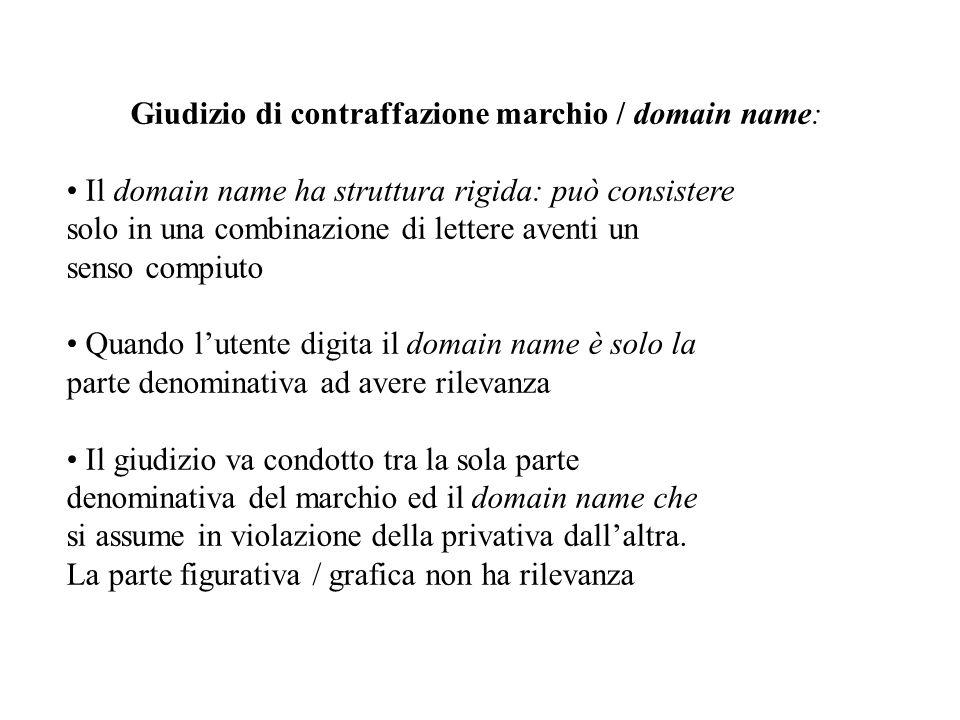 Giudizio di contraffazione marchio / domain name: