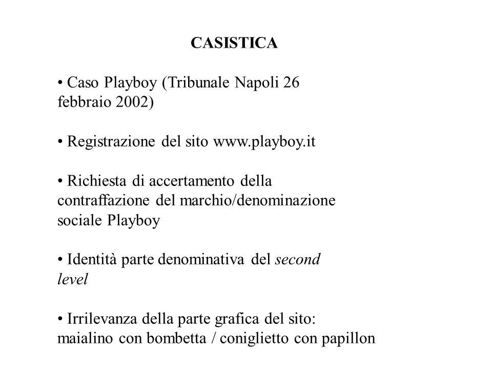 CASISTICA • Caso Playboy (Tribunale Napoli 26. febbraio 2002) • Registrazione del sito www.playboy.it.