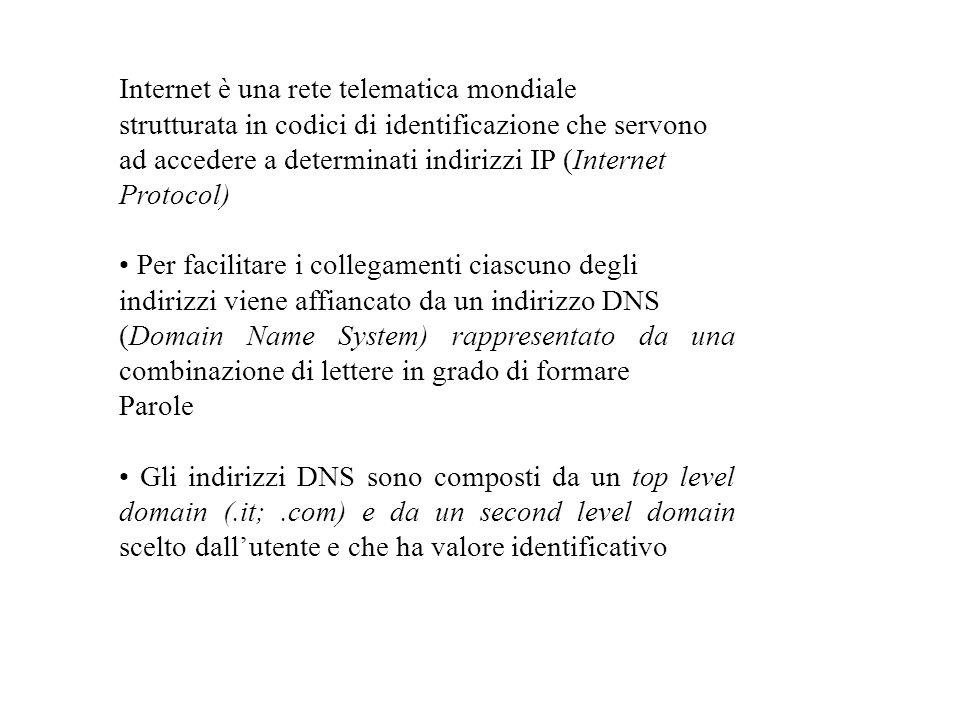Internet è una rete telematica mondiale