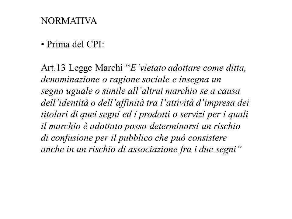 NORMATIVA • Prima del CPI: Art.13 Legge Marchi E'vietato adottare come ditta, denominazione o ragione sociale e insegna un.