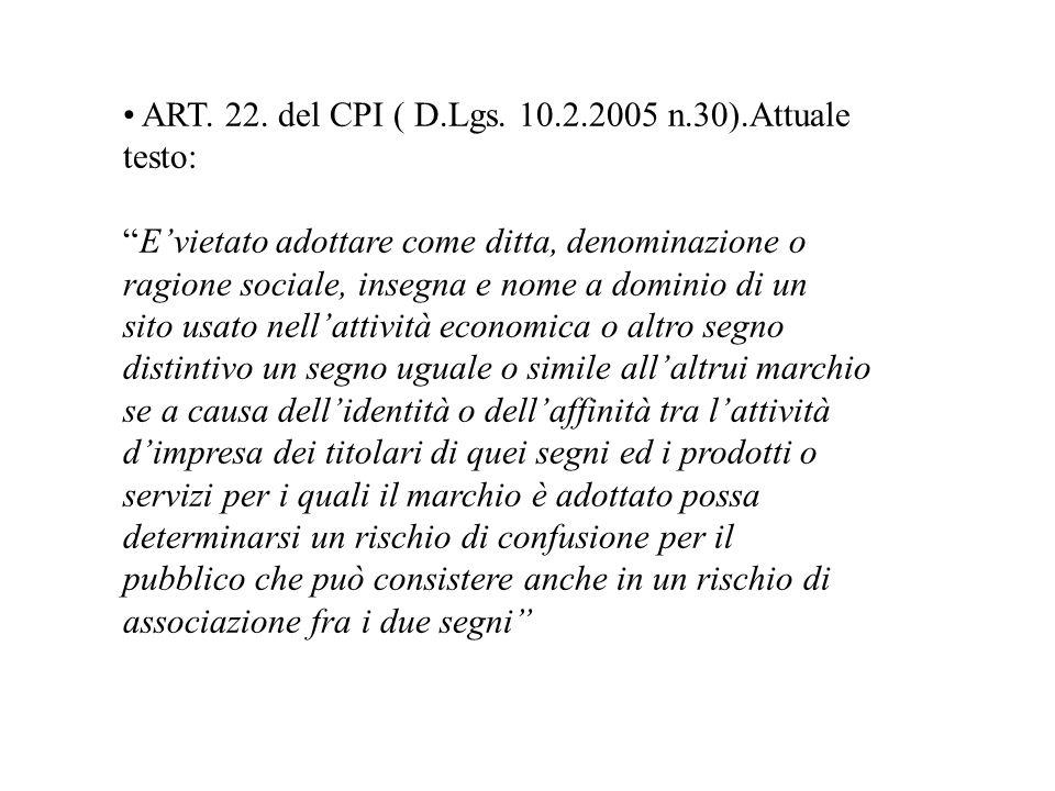 • ART. 22. del CPI ( D.Lgs. 10.2.2005 n.30).Attuale
