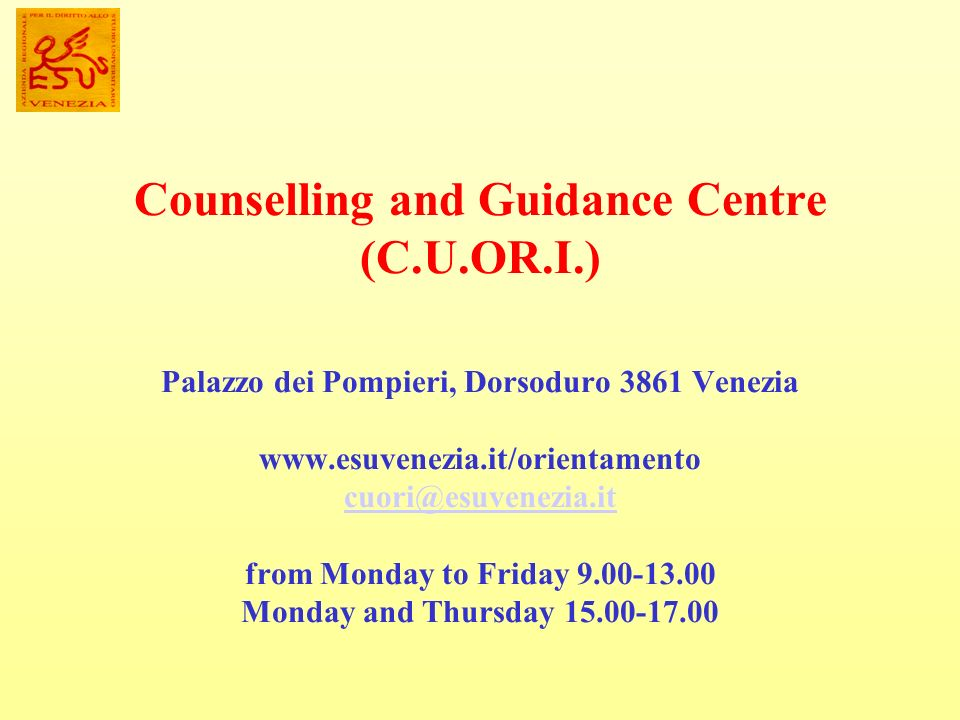 Counselling and Guidance Centre (C. U. OR. I