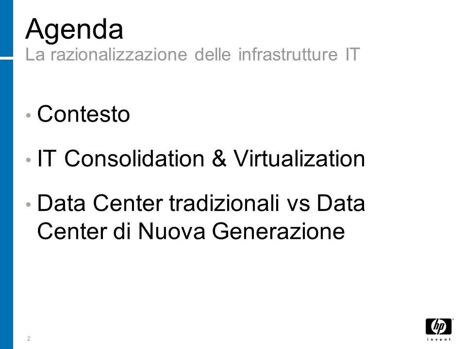 Agenda La razionalizzazione delle infrastrutture IT