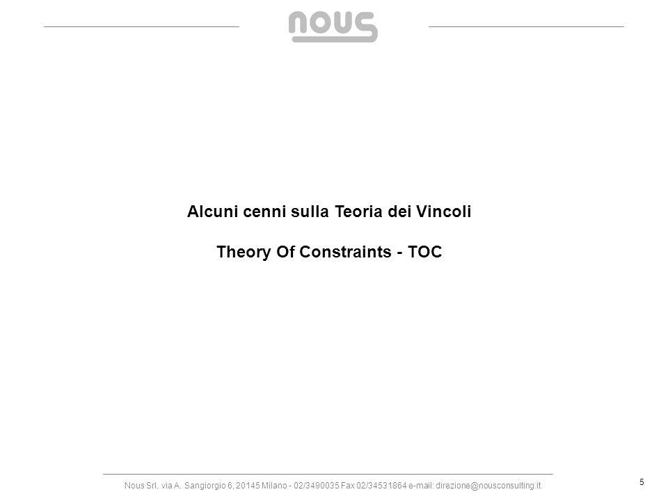 Alcuni cenni sulla Teoria dei Vincoli Theory Of Constraints - TOC