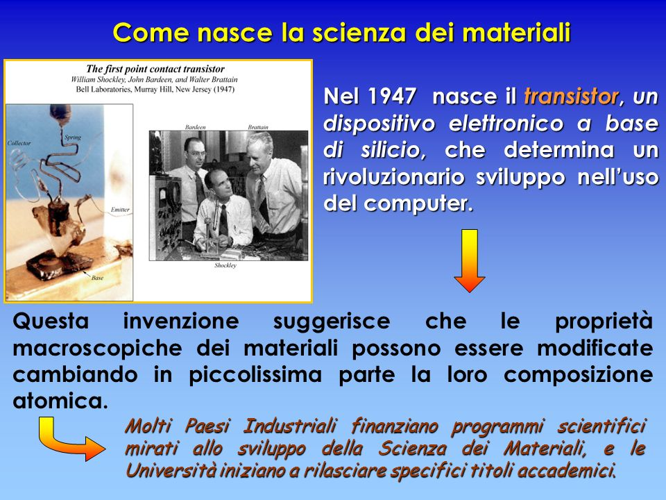 Come nasce la scienza dei materiali