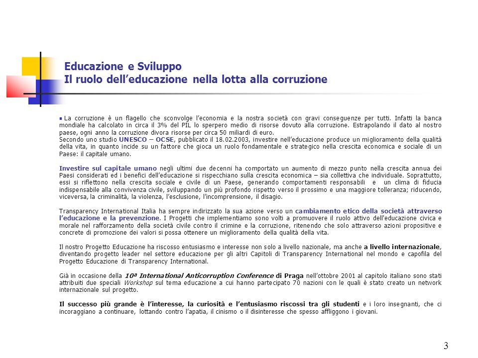 Educazione e Sviluppo Il ruolo dell'educazione nella lotta alla corruzione