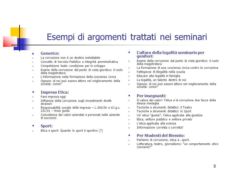 Esempi di argomenti trattati nei seminari