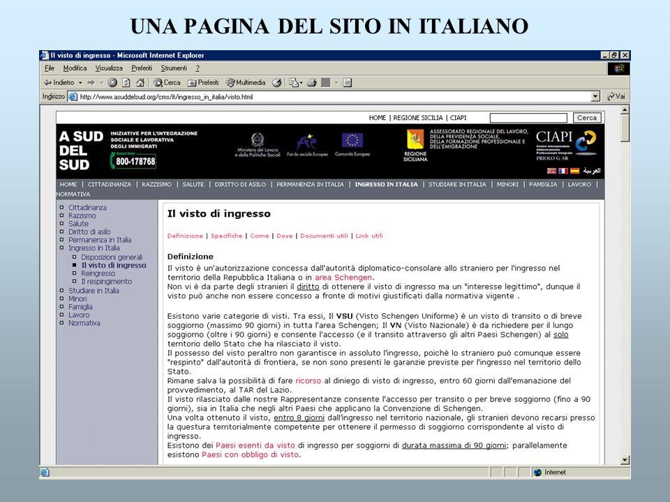 UNA PAGINA DEL SITO IN ITALIANO
