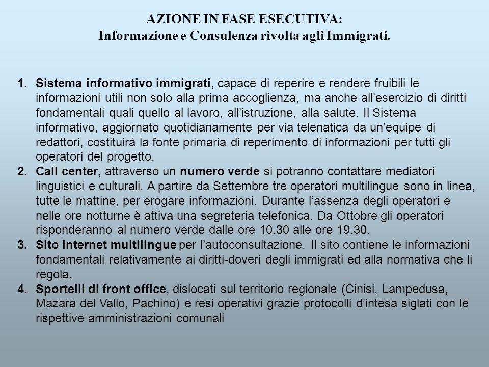 AZIONE IN FASE ESECUTIVA: Informazione e Consulenza rivolta agli Immigrati.