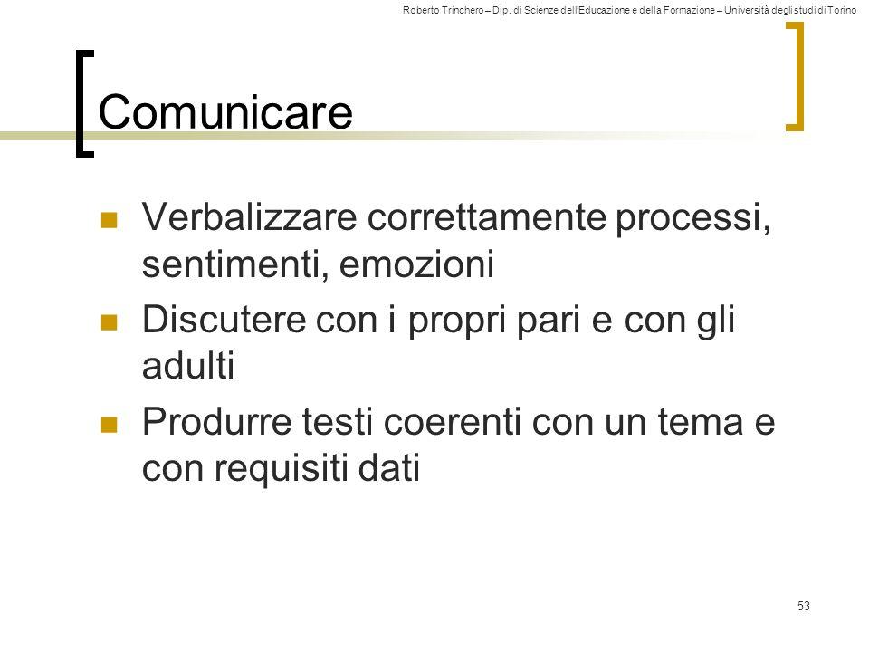 Comunicare Verbalizzare correttamente processi, sentimenti, emozioni
