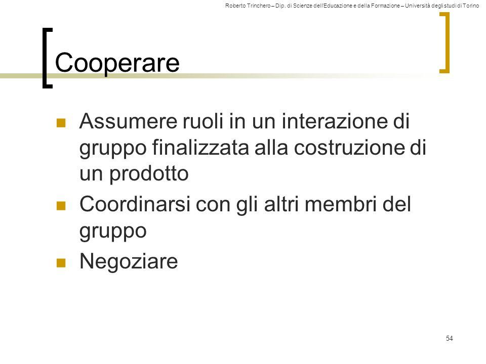 Cooperare Assumere ruoli in un interazione di gruppo finalizzata alla costruzione di un prodotto. Coordinarsi con gli altri membri del gruppo.