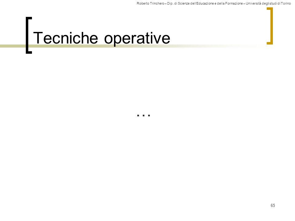 Tecniche operative …